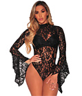 Floral Lace Long Sleeve Teddy Black